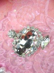 "STS199 Crystal Clear Rhinestone Embellishment Designer Metal Back 1.5"""