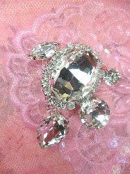 "STS213 Petite Crystal Clear Rhinestone Embellishment Designer Metal Back 2"""