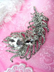 STS218 Bridal Brooch Silver Crystal Clear Glass Rhinestone Victorian Leaves 4""