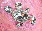 "Petite Crystal Clear Rhinestone Embellishment Designer Metal Back 2.5"" (STS222-slcr)"
