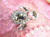 "Crystal Clear Rhinestone Embellishment Designer Metal Back 1.5"" (STS224-slcr)"