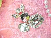 "Abstract Crystal Clear Rhinestone Embellishment Designer Metal Back 2"" (STS226-slcr)"