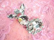 "Petite Crystal Clear Rhinestone Embellishment Designer Metal Back 2"" (STS227-slcr)"