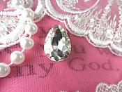 "Tear Drop Petite Crystal Clear Rhinestone Embellishment Designer Silver Metal Back .75"" (STS232-slcr)"