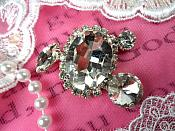 "Crystal Clear Rhinestone Embellishment Designer Metal Back 2"" (STS233-slcr)"