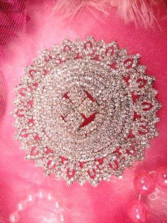 STS26 Silver Beaded Rhinestone Applique 3.5""