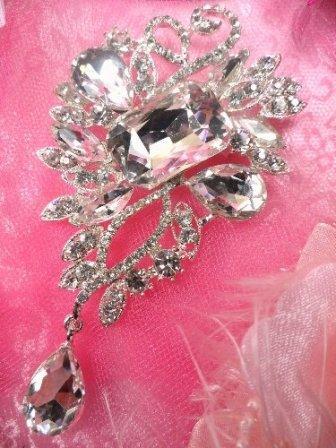 """TS138 Bridal Silver Crystal Rhinestone Brooch 4"""""""