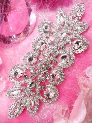 "TS139 REDUCED Bridal Sash Silver Beaded Rhinestone Applique Embellishment  7.25"""