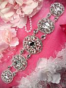 "TS151 Bridal Sash Silver Beaded Rhinestone Applique 9"""