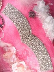 TS142 Bridal Sash Silver Beaded Crystal Rhinestone Applique