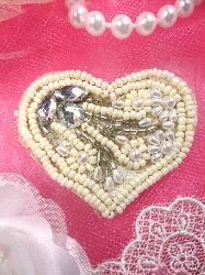 STS71 Ivory Heart Felt Back Crystal Beaded Applique 1.75""