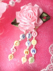 VD33 Pastel ABC Dangle Beaded Applique 3""