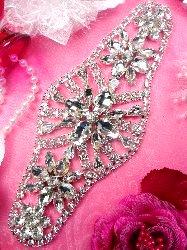 """TS136 Silver Crystal Rhinestone Applique Embellishment  8"""""""