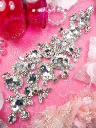 """TS155 Silver Crystal Rhinestone Applique Embellishment  9"""""""