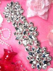 """TS154 Silver Crystal Rhinestone Applique Embellishment  9.5"""""""