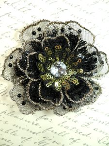 """GB421 Sequin Applique Floral 3D Black Gold Rhinestone Embroidered Patch 4"""""""
