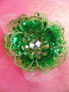 GB421 Sequin Applique Floral 3D Green Rhinestone Embroidered Patch 4""