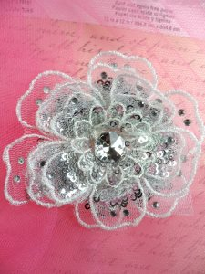 """GB421 Sequin Applique Floral 3D Silver Rhinestone Embroidered Patch 4"""""""