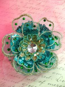 """GB421 Sequin Applique Floral 3D Turquoise Rhinestone Embroidered Patch 4"""""""