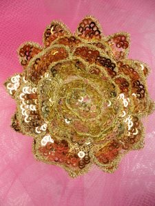 GB409 Sequin Applique Floral 3D Copper Gold Embroidered 3""