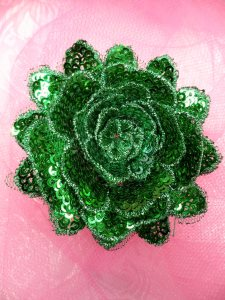 GB409 Sequin Applique Floral 3D Green Embroidered Patch 3""