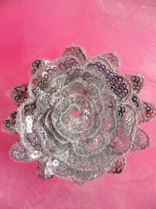 GB409 Sequin Applique Floral 3D Silver Embroidered Patch 3""