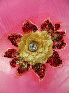 GB412 Sequin Applique Floral 3D Red Gold Rhinestone Center Embroidered Patch 3""