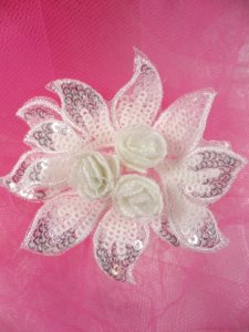 """GB413 Sequin Applique Floral 3D White Crystal Embroidered Patch 3"""""""