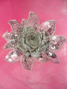 """GB415 REDUCED Sequin Applique Floral 3D Silver Embroidered Patch 2.5"""""""