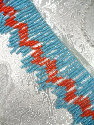 T2A Light Blue Orange Dangle Fringe Beaded Tribal Indian Trim 2""