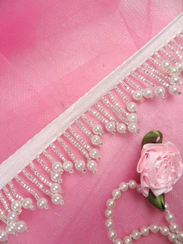 FS3910 White Pearl Silver Beaded Fringe Sewing Trim