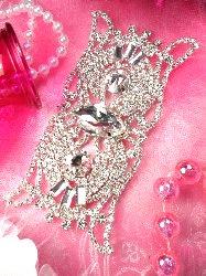 """TS103 Owl Eyes Silver Crystal Rhinestone Applique Embellishment 4.5"""""""
