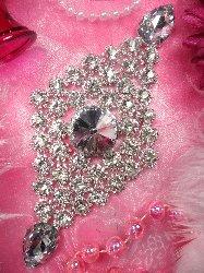 "RMTS110-SLCR REDUCED Silver Crystal Rhinestone Applique Embellishment 7.25"""