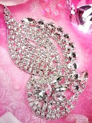 TS111 Silver Crystal Clear Rhinestone Applique Embellishment 6""