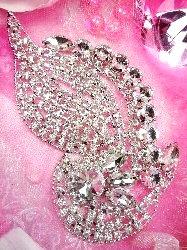 """TS111 Silver Crystal Clear Rhinestone Applique Embellishment 6"""""""