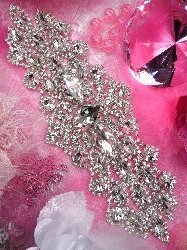 TS113 RESERVED LISTING Silver Crystal Clear Rhinestone Applique Embellishment 9.5""