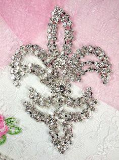 "TS13 Silver Crystal Clear Fleur De Lis Rhinestone Applique Embellishment 4.25"""