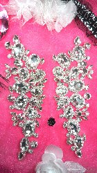 TS133X Crystal Clear Rhinestone Applique Embellishments Mirror Pair 8""