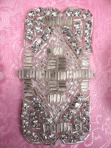 RMACT/TS143 (REDUCED) Silver Beaded Crystal Rhinestone Applique 3.25""