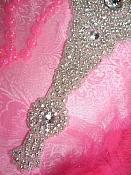 "TS161 Large Bridal Sash Silver Beaded Crystal Clear Glass Rhinestone Applique 18"""