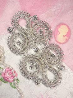 """TS17 Silver Crystal Clear Rhinestone Applique Embellishment 4.5"""""""
