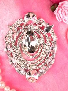 """TS22 Silver Crystal Clear Rhinestone Applique Embellishment 3"""""""