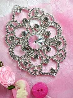 """TS23 Silver Crystal Clear Rhinestone Applique Embellishment 4"""""""