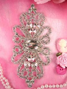 """REMTS26A REDUCED Silver Crystal Clear Rhinestone Applique Embellishment 6"""""""