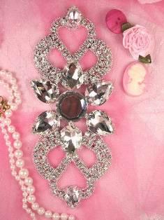 "RMTS32A REDUCED Silver Crystal Clear Rhinestone Applique Embellishment 6.25"""