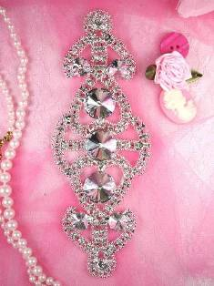 RMTS34 REDUCED Silver Crystal Clear Rhinestone Applique Embellishment 6.5""