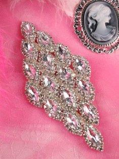 """TS47 Silver Crystal Clear Rhinestone Applique Embellishment 5.5"""""""