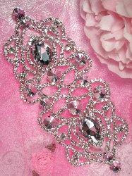 """TS56 Lisa Silver Crystal Clear Rhinestone Applique Embellishment 8"""""""