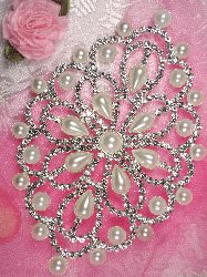 """RMTS73 REDUCED Silver Pearl Beaded Crystal Rhinestone Applique Embellishment  5"""""""