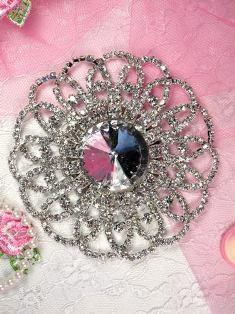 "TS8 Silver Crystal Clear Round Rhinestone Applique Embellishment 3.75"""
